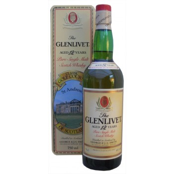 Glenlivet 12 Year Old 750ml Rare St Andrews Golf Tin Single Malt Whisky