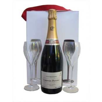 Laurent Perrier Brut Champagne Gift Box With Two Glasses